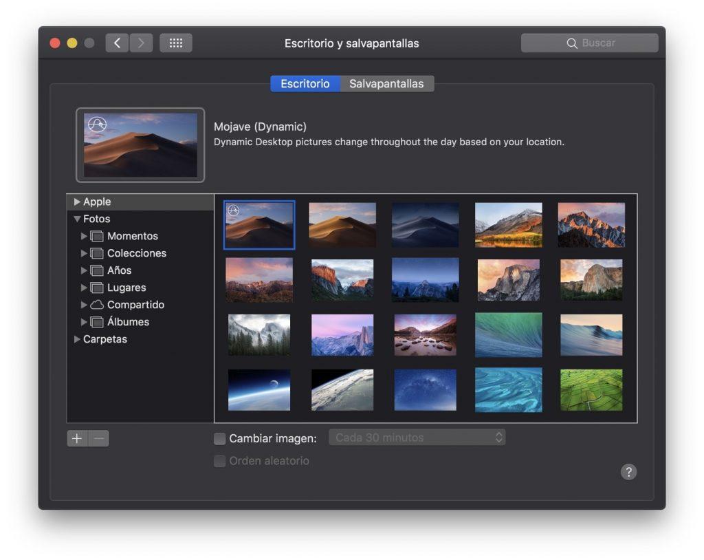 MacOS Mojave -- Fondos de pantalla dinámicos