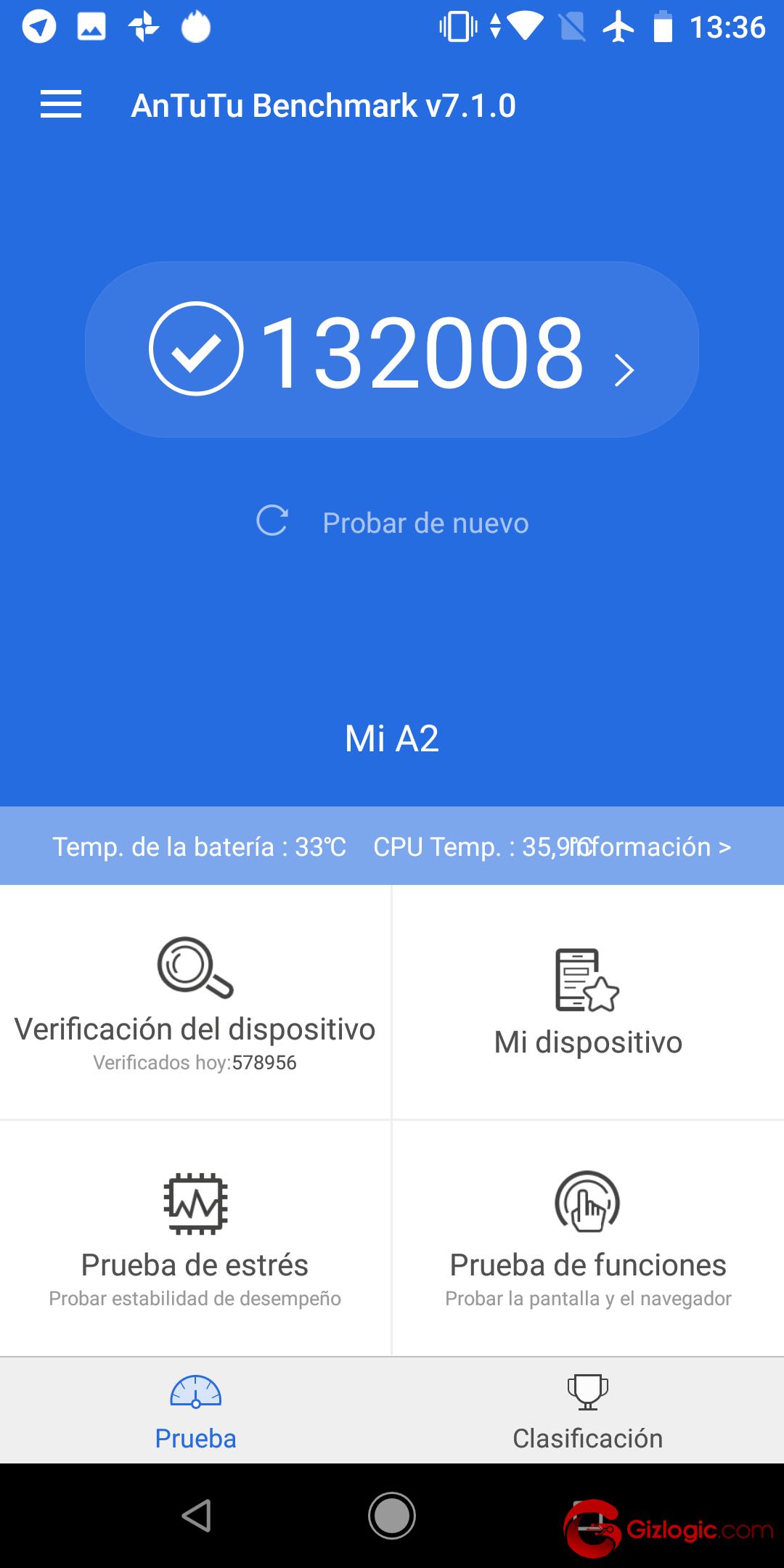 Puntuación Benchmark Xiaomi MiA2