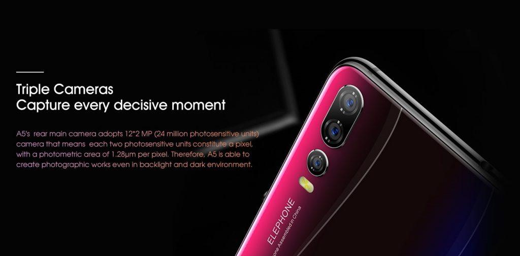 Elephone A5, cámaras