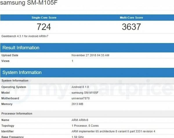 Samsung Galaxy M10 en Geekbench