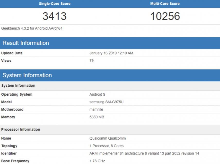 samsung galaxy s10 plus geekbench