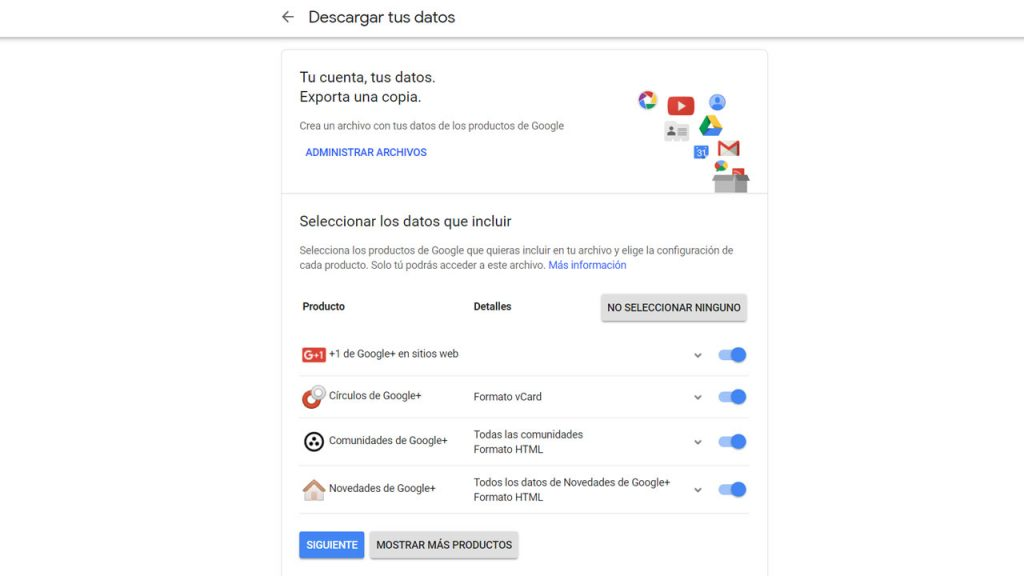 Descarga tus datos de Google+