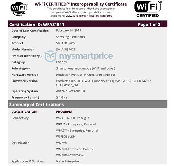 La serie Samsung Galaxy A 2019 recibe su certificado de la alianza Wi-Fi