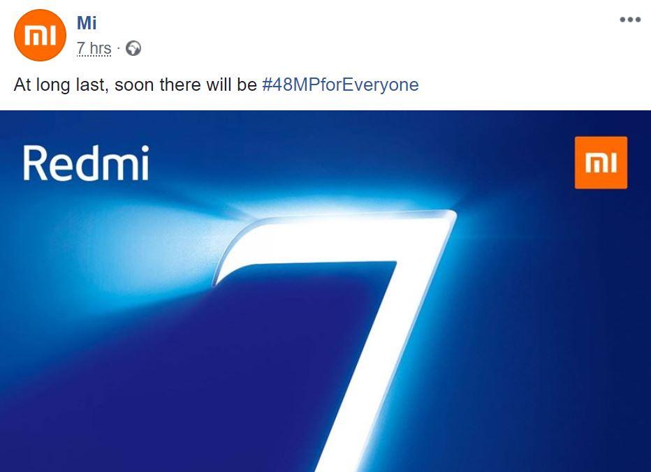 Redmi Note 7 - Publicación de Facebook