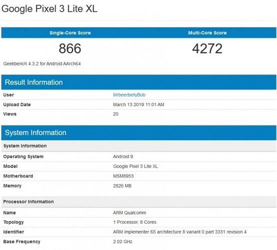 google pixel 3 xl lite