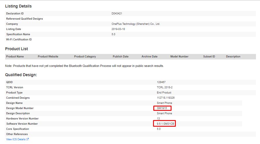 OnePlus 7 Pro Bluetooth SIG