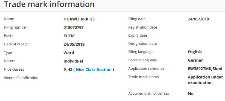 Huawei Ark OS - Marca registrada