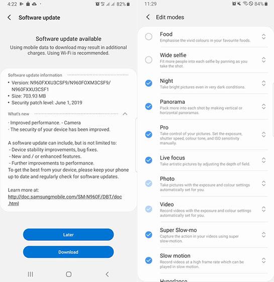 Modo nocturno para el Samsung Galaxy Note 9