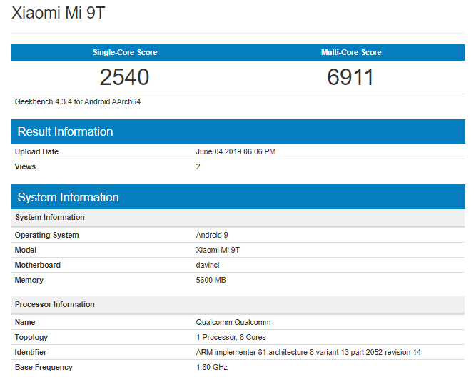 Xiaomi Mi 9T Geekbench
