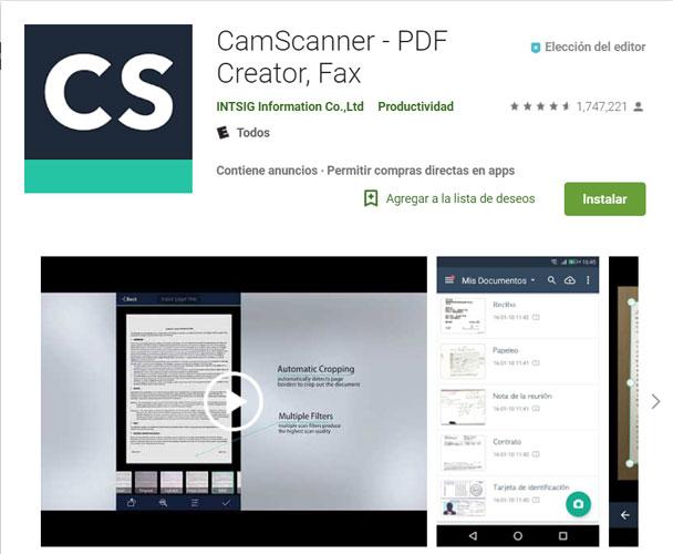 CamScanner en la Play Store