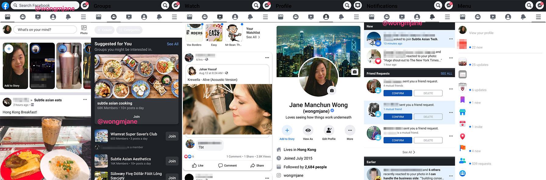 Modo oscuro para Facebook