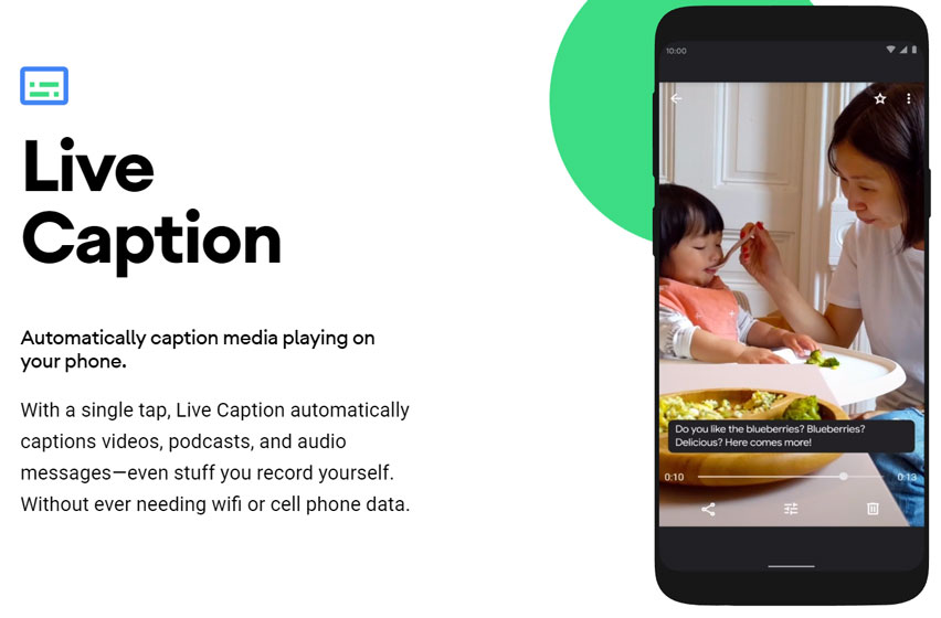 Android 10 - Live Caption