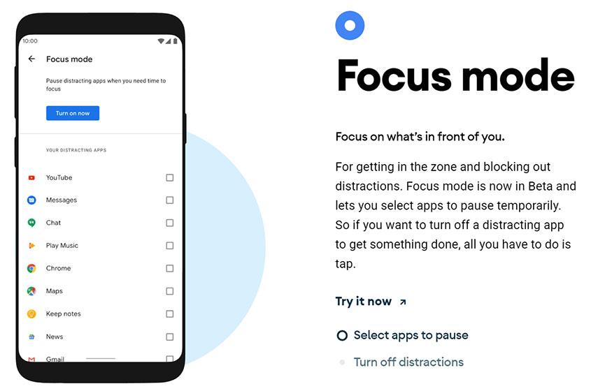 Android 10 - Modo de concentración