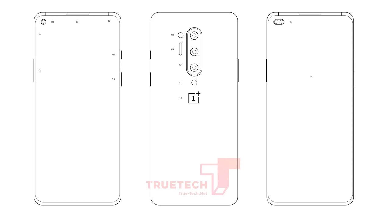 Diagrama filtrado del OnePlus 8 Pro sugiere una pantalla con doble perforación
