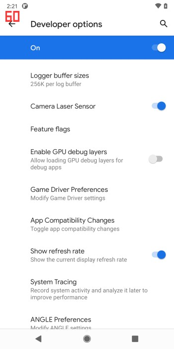 Beta de Android 11 - Tasa de refrescamiento