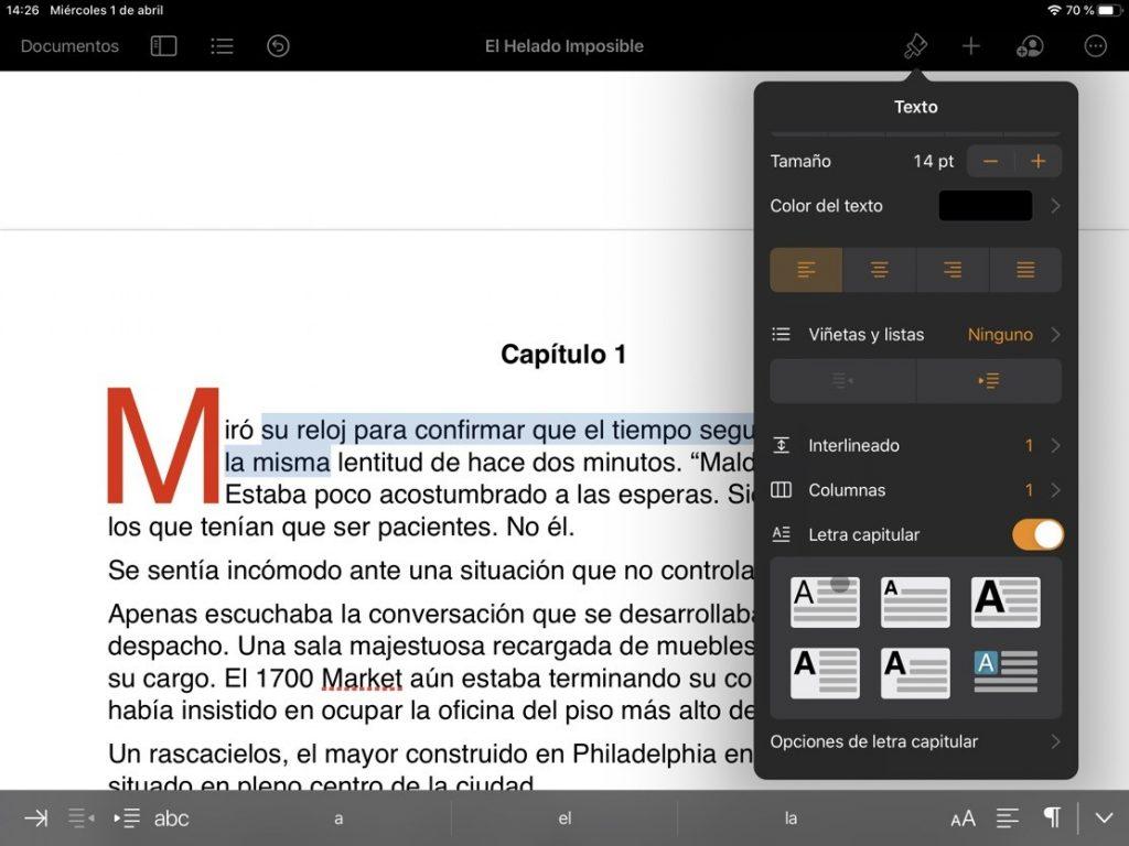 Actualizaciones de iWork para iPadOS e iOS - Letras capitular