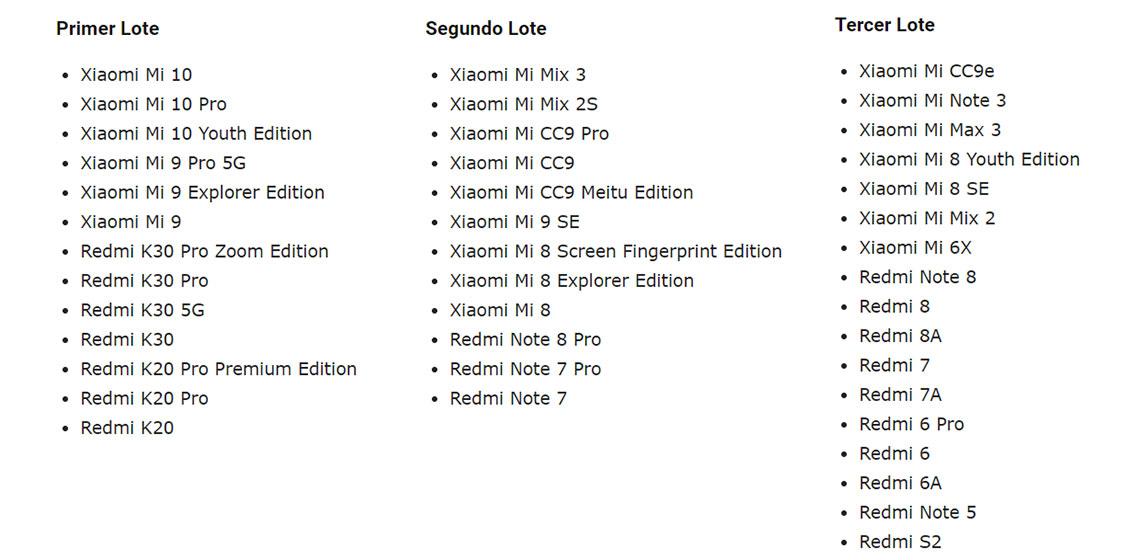 Lista de dispositivos compatibles