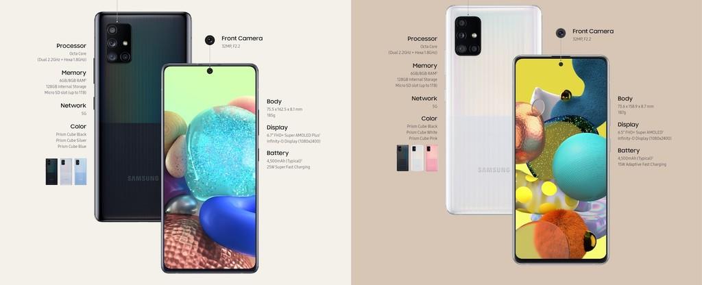 Samsung Galaxy A71 y Galaxy A51