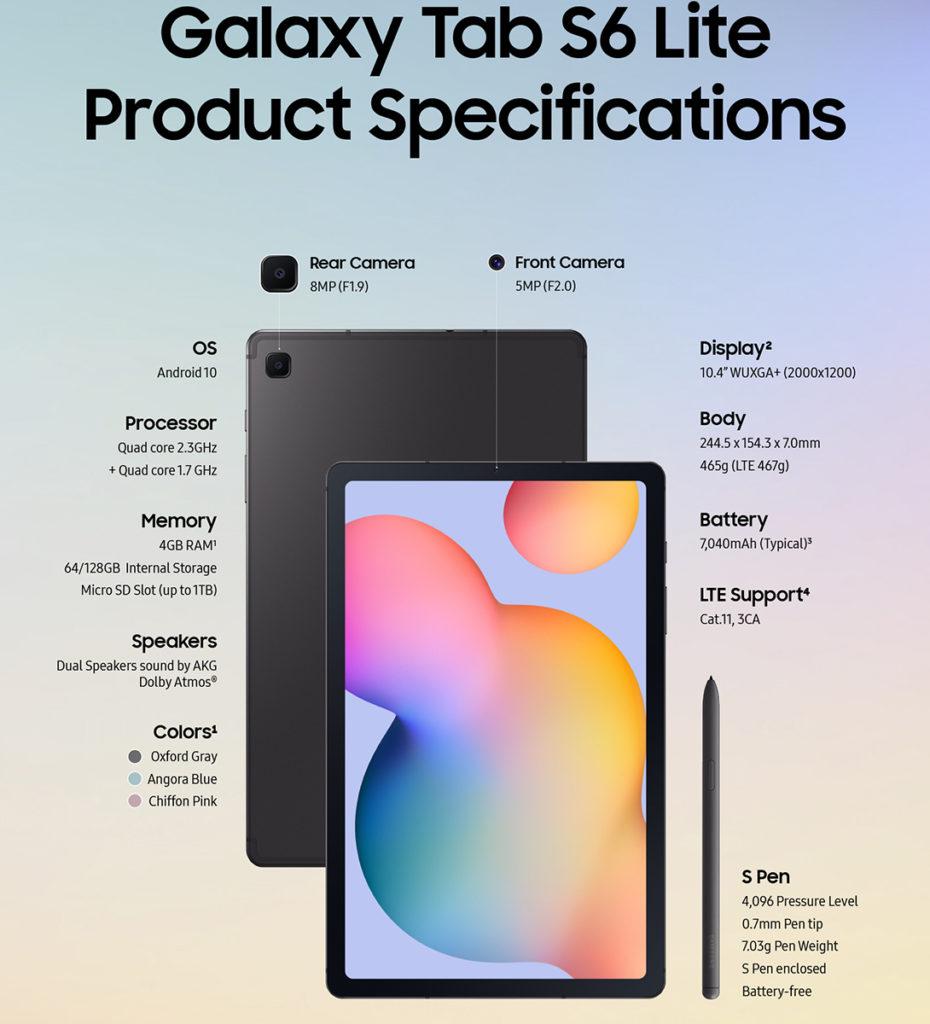 Samsung Galaxy Tab S6 Lite - Especificaciones