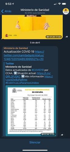 canal de telegram ministerio