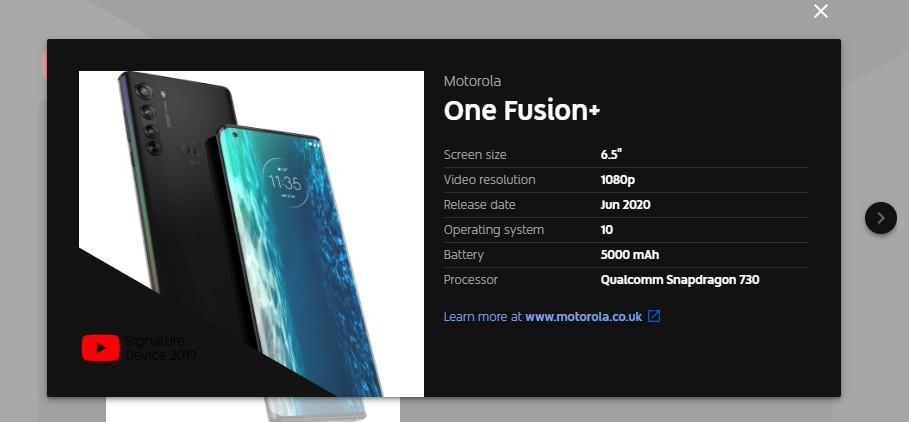 El Motorola One Fusion+ se filtra en YouTube