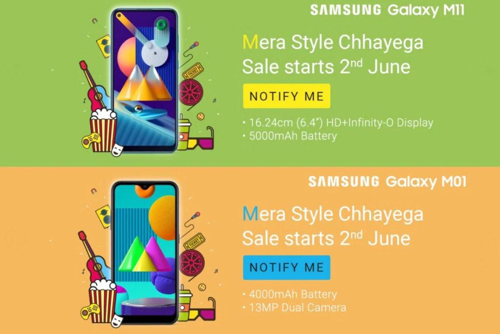 El Samsung Galaxy M01 vendrá acompañado por el Galaxy M11
