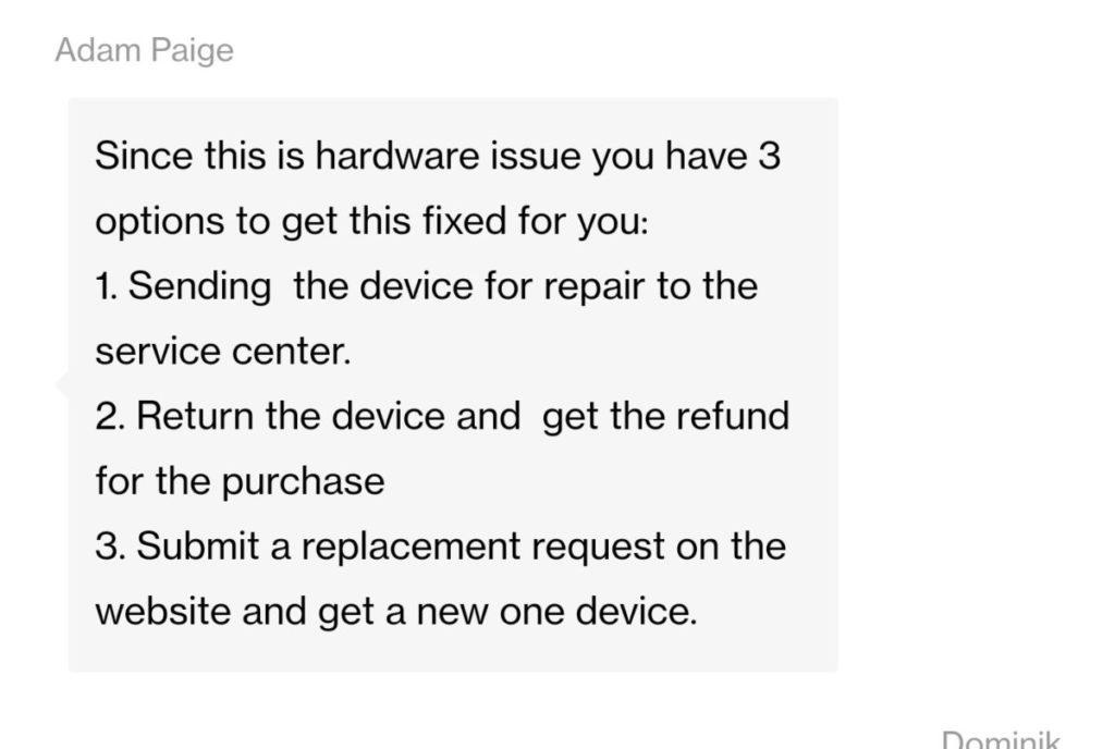 Respuesta de OnePlus