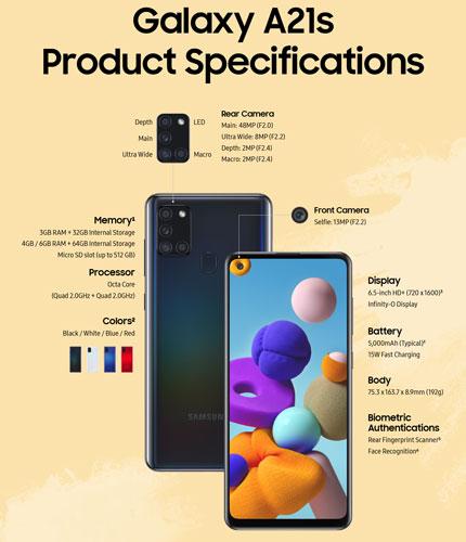 Samsung Galaxy A21s - Especificaciones