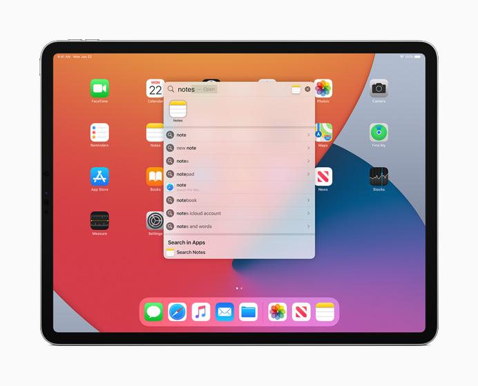 iPadOS 14 - Búsquedas universales