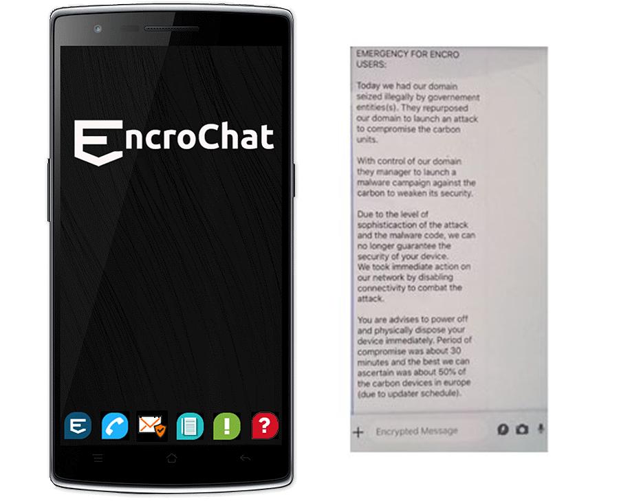 EncroChat advirtiendo a sus usuarios a último momento sobre la infiltración en la App