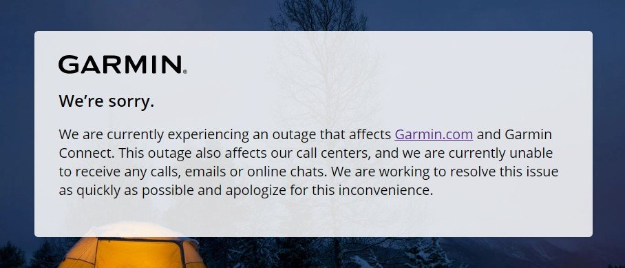 Garmin - Servicios caídos