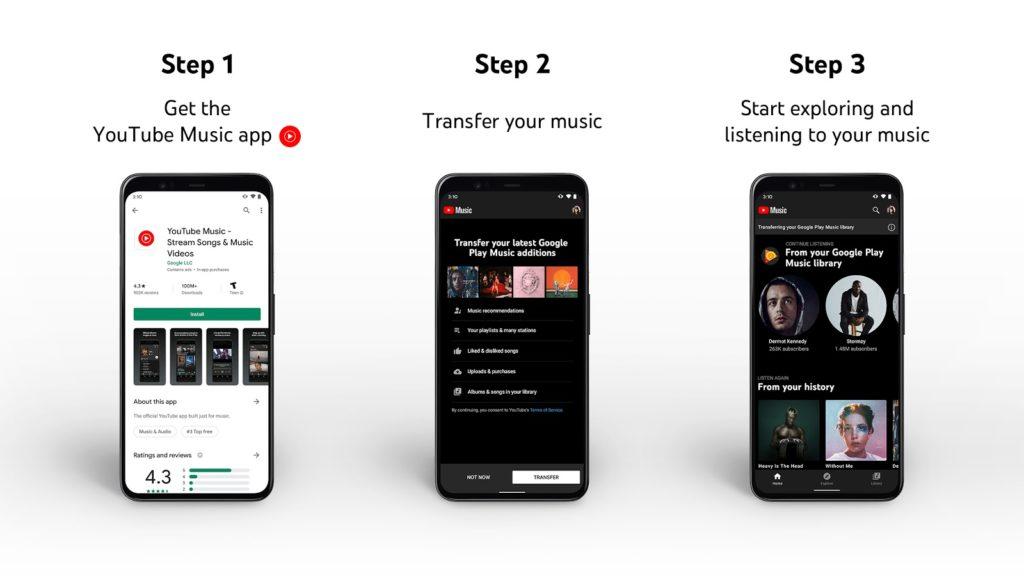 Los usuarios podrán migrar su contenido de Google Play Music a YouTube Music