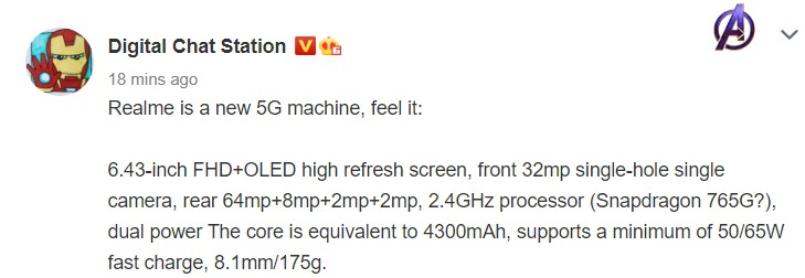 Realme V5 Pro - nombre clave Realme RMX2176
