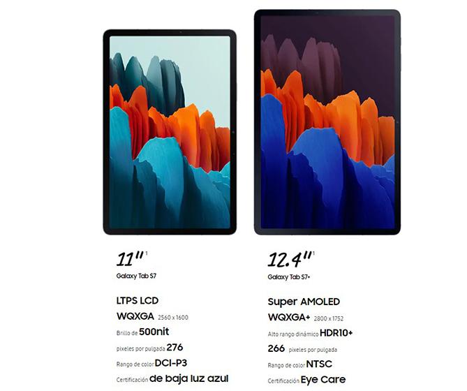 Samsung Galaxy Tab S7 y S7 Plus - Pantallas