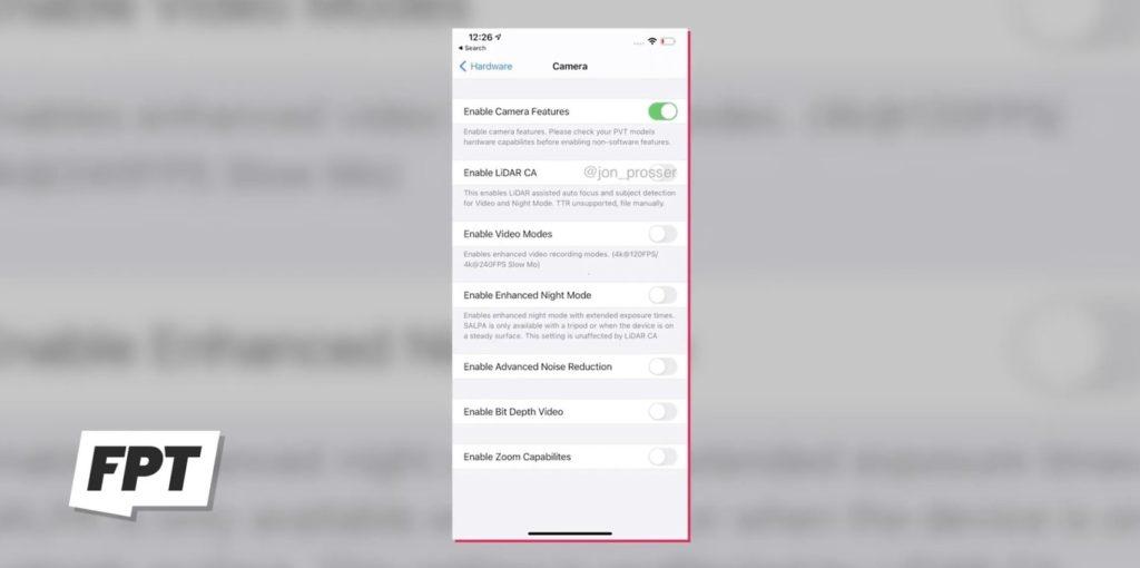 iPhone 12 Pro Max - Filtraciones sobre los ajustes de la cámara