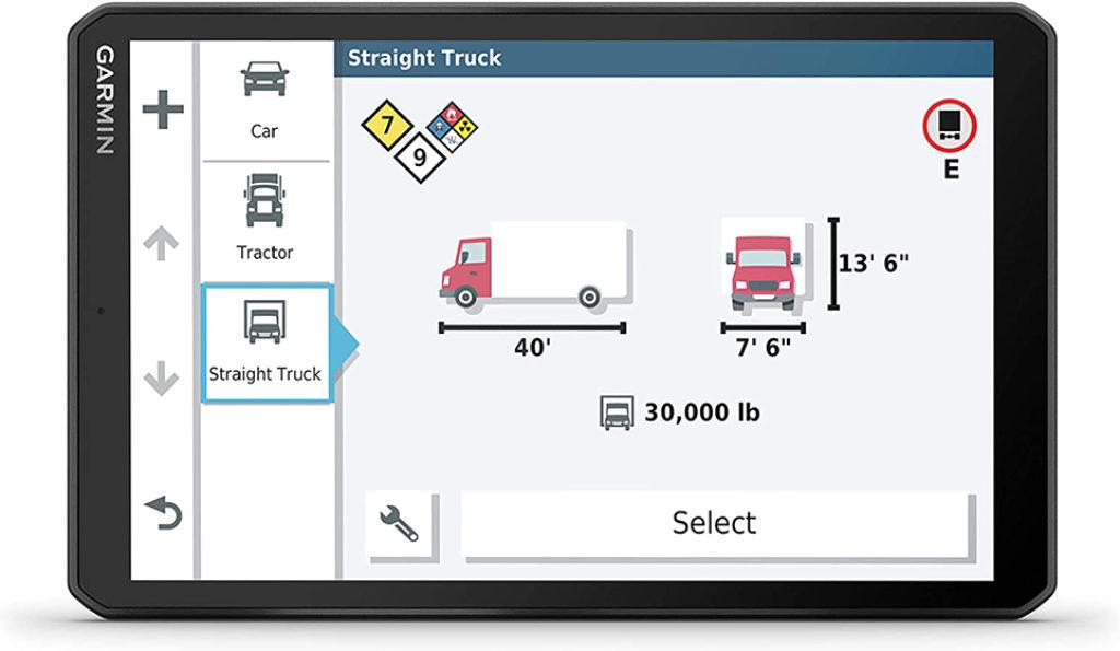 Garmin Dezl LGV800 MT-D - Perfil del camión