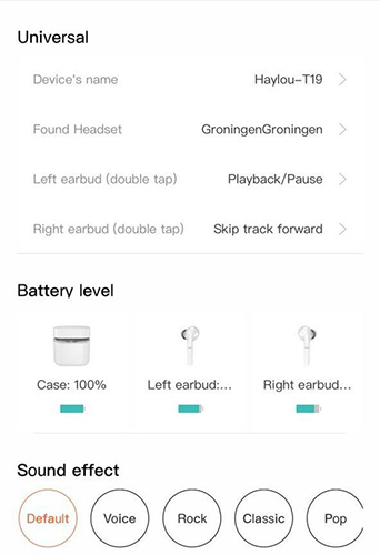 Haylou T19 TWS - App