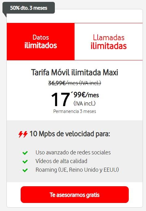 Tarifas Vodafone Ilimitada Maxi