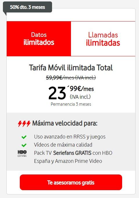 Tarifas Vodafone Ilimitada Total