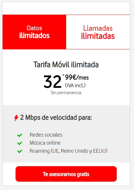 Tarifas Vodafone Ilimitada básica