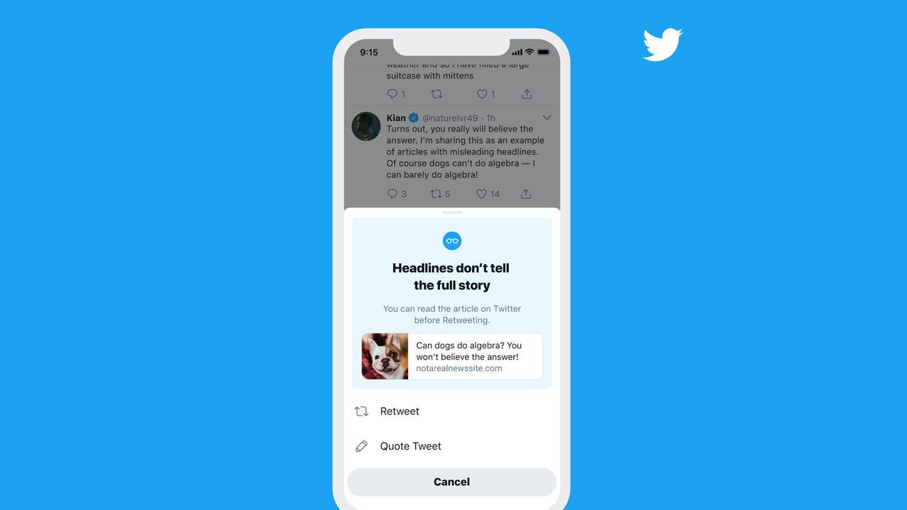 Twitter trae la función de leer antes de compartir a todos los usuarios