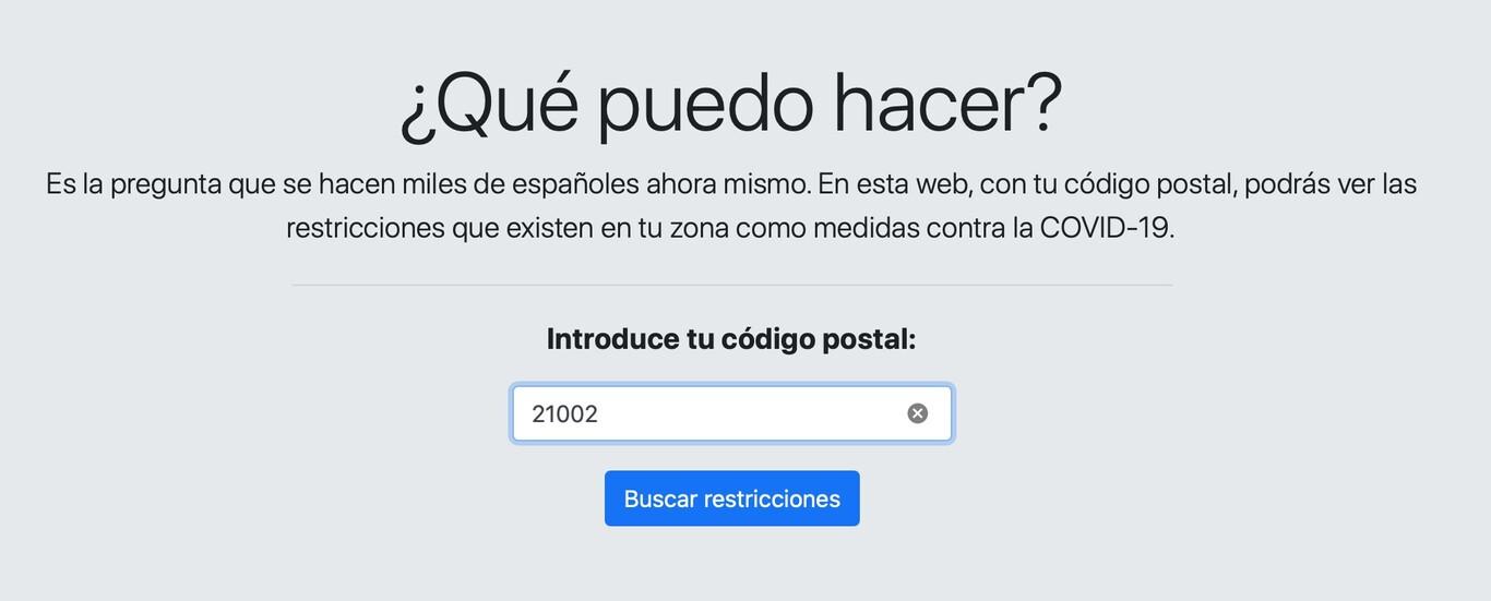 Cómo usar QueCovid.es - Código Postal