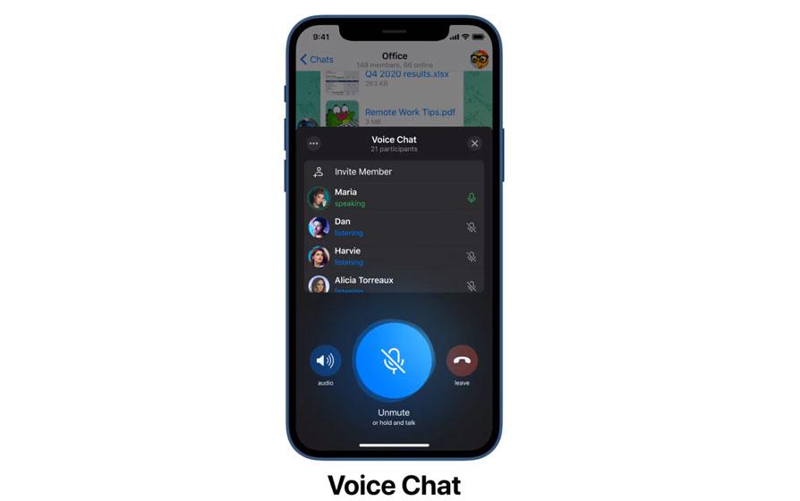 Chats de voz en Telegram