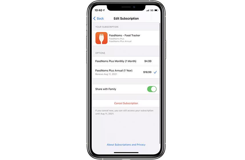 Compartir suscripciones de la App Store