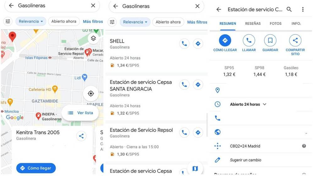 Consulta el precio de la gasolina en Google Maps