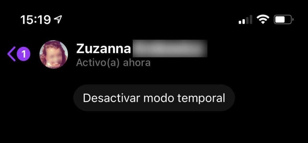 Desactivar el Modo Temporal de Messenger