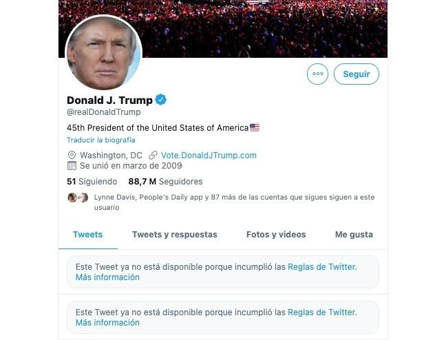 Donald Trump suspendido en Twitter