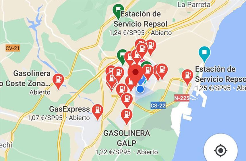 Google Maps - Gasolineras