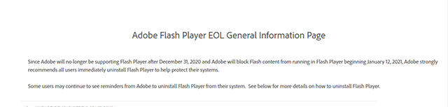 Mensaje de Adobe Flash Player