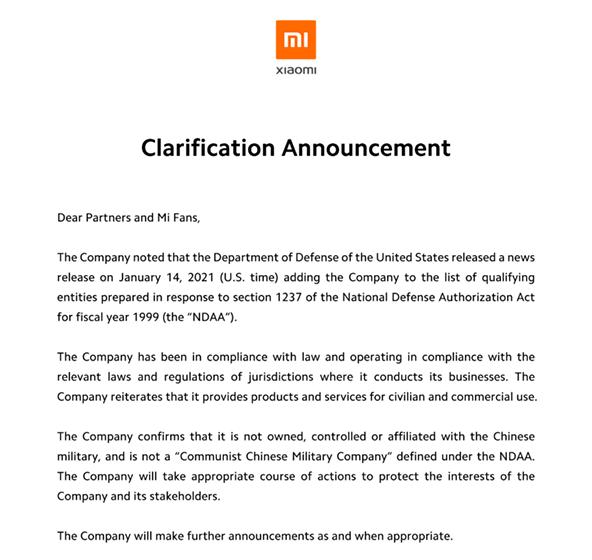 Respuesta de Xiaomi